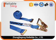 "China 2"" x 20' Blue E Track Truck Ratchet Tie Down Strap With Capacity 4400lbs company"
