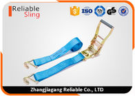 50 mm 4 Ton Blue Plastic Ratchet Tie Down Strap With Double J Hooks EN12195-2
