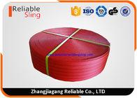 CE 125mm Red Polyester Webbing For Flat Sling Belt Safety Factor 6