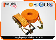 China 4T Polyester Orange Double J Hook Ratchet Straps / Heavy Duty Cargo Straps factory