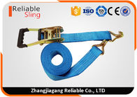 5 Ton Blue Polyester Webbing Strap Car Trailer Tie Down Straps with Molded Rubber Handle