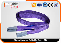 China Purple Polyester Duplex Flat Webbing Sling with Reinforced Lifting Eyes 1 Tonne company