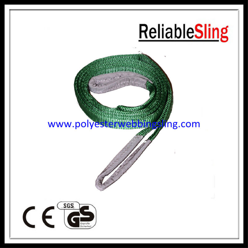 Two Ton Green synthetic fiber lifting slings / Polyester Flat Web Sling