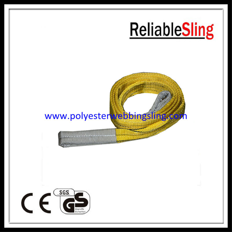 Customized Yellow 3T Flat Webbing Sling with 100% high tenacity polyester Material