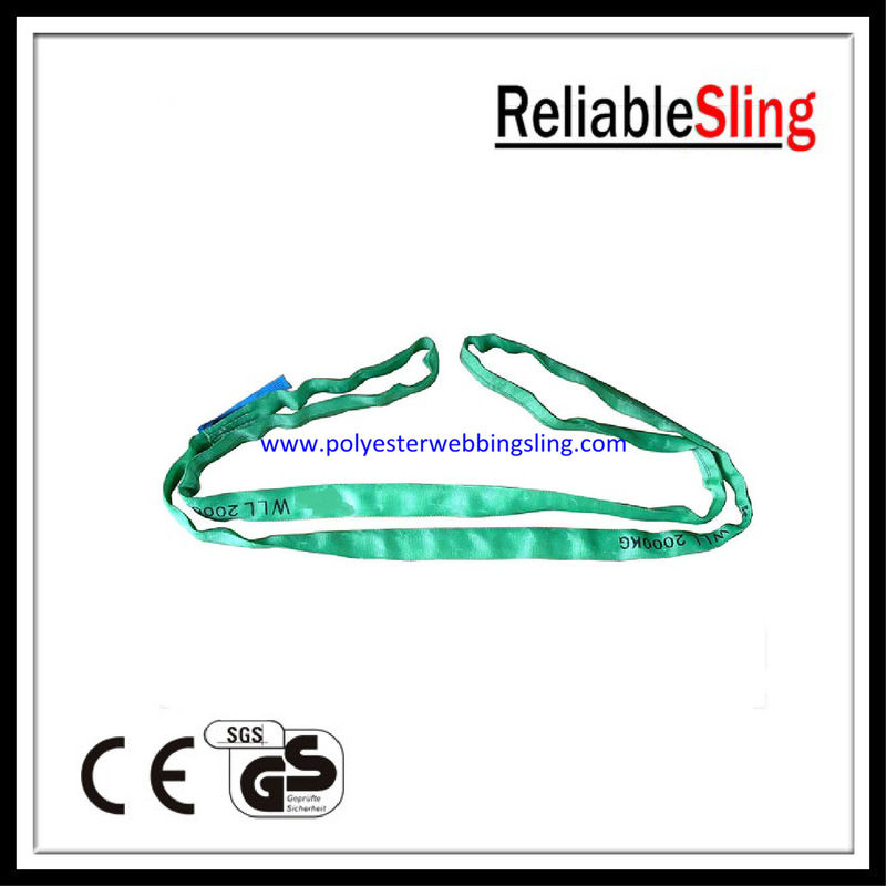 EN 1491-2 2T Green Polyester Round Slings with Woven Heavy Duty Sleeve