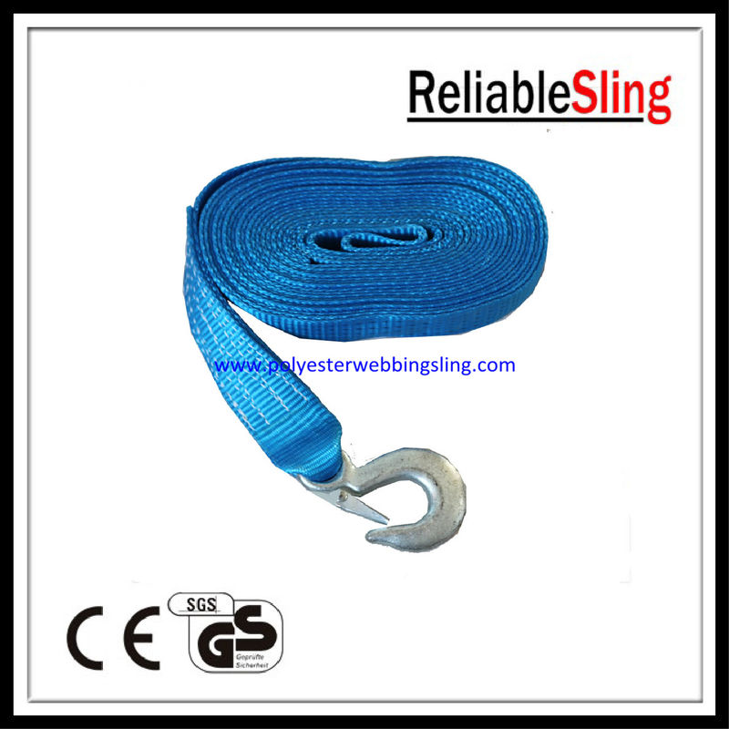 Red Yellow Blue Heavy Duty Tow Straps with forged hook and flat eye