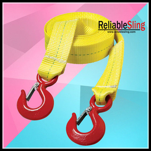 Colored Polyester Heavy Duty Tow Straps Flat With Forged Hooks