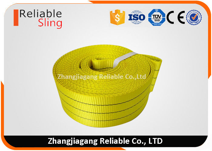 WLL 3 Ton Yellow Flat Woven Webbing Tape , 75mm Anti - Wear Lifting Webbing
