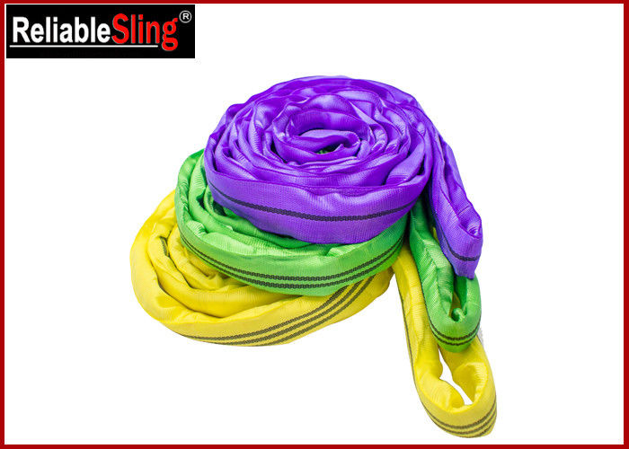 EN 1492-2 Endless Polyester Round Sling , Flexible Soft Round Lifting Sling