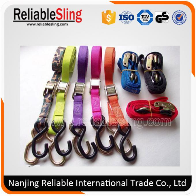 High Resistance Ratchet Strap Webbing , Red Polyester Metal Cam Buckle Locking Strap