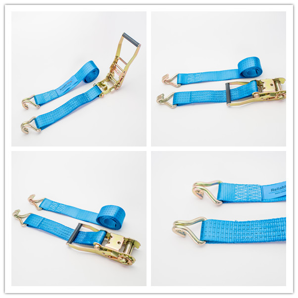 50cm 4T Blue Polyester Ratchet Tie Down Strap Cargo Lashing Blue / Orange / Yellow
