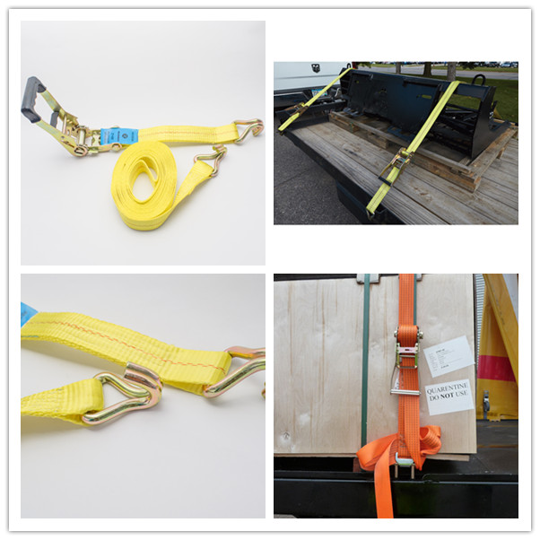 "Us Type Rubber Covered Vehicle Tie Down Straps With 2"" Yellow Webbing Belt"