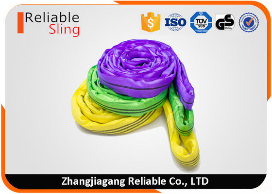 China Pliable Endless Round Polyester Lifting Slings With Color Code Jacket Cover factory
