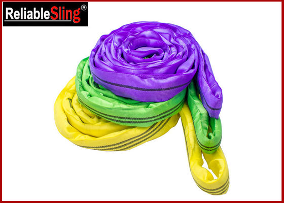 EN Standard Color Code Polyester Lifting Slings , Endless Cargo Slings
